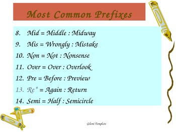 Prefixes and Suffixes Common Core