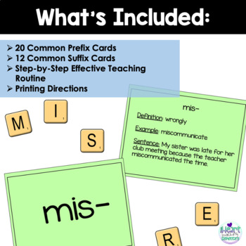 Prefixes and Suffixes Flash Cards