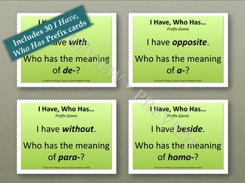 Prefixes and Suffixes - I Have, Who Has Cards (Bundle)