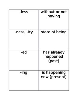 Prefixes and Suffixes Match Up