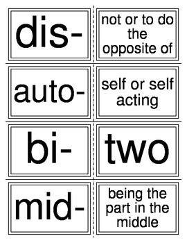 Prefixes and Suffixes Matching Cards