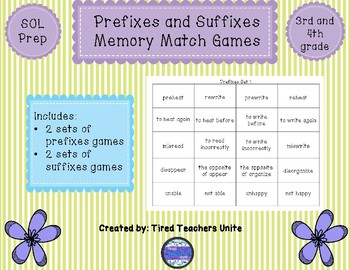 Prefixes and Suffixes Memory Match Games