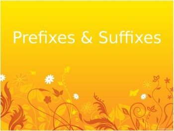 Prefixes and Suffixes - Orange sunset (EDITABLE)