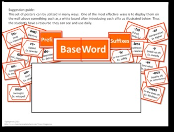 Prefixes and Suffixes Poster Set - ORANGE
