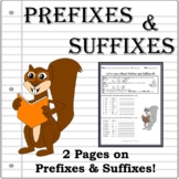 Prefixes and Suffixes - Printable Worksheet with Squirrels