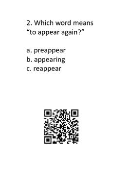 Prefixes and Suffixes QR Codes Activity #1 3rd 4th 5th grade