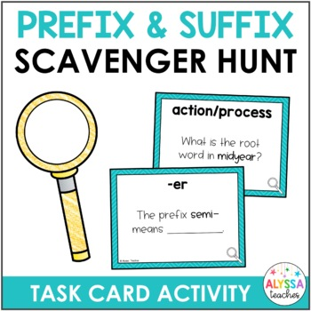 Prefixes and Suffixes Scavenger Hunt Task Cards