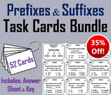 Prefixes and Suffixes Task Cards Bundle: 2nd 3rd 4th Grade Affixes