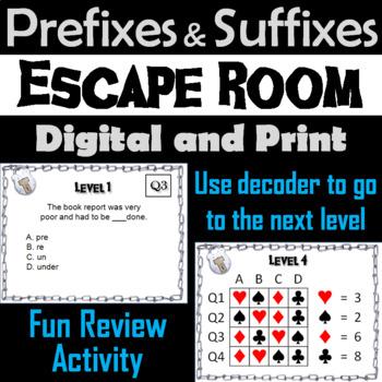 Prefixes and Suffixes Escape Room - ELA (Vocabulary Game)