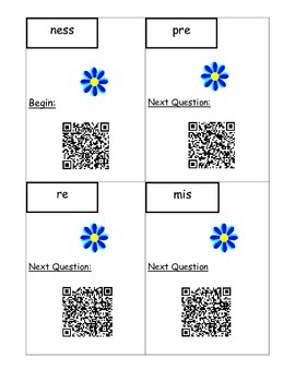 Prefixes and Suffixes Vocabulary Scavenger Hunt with QR Codes L.4.4