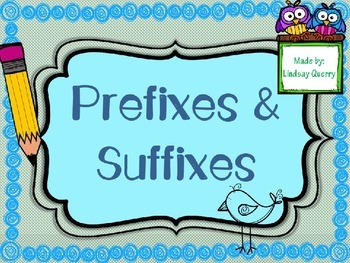 Prefixes and Suffixes Word Sort {A Literacy Center}