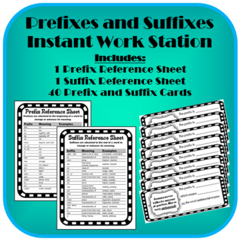 Prefixes and Suffixes Literacy Center