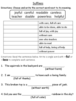 Prefixes and Suffixes Worksheet - Great for a grade or practice