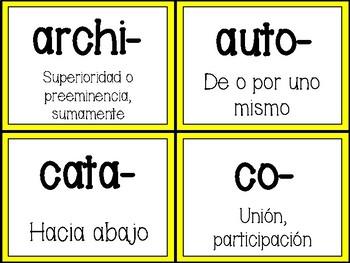 Prefixes and Suffixes in Spanish (Prefijos y Sufijos)
