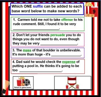 Prefixes and Suffixes inter-, in-, -ive, -tion, -ess
