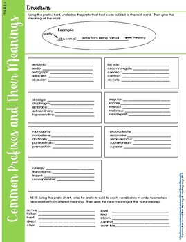Prefixes and Their Meanings Activity
