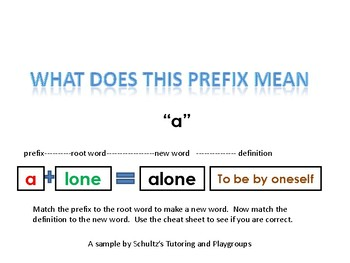 "Prefixes --and the meaning of words that have ""a"" and ""de"" as a prefix"