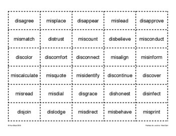 Prefixes dis- and mis- Word Sort {Differentiated} + Seat work