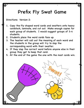 Prefixes il-, im-, ir-, in-  Fly swatter game