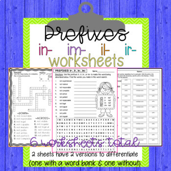 Prefixes im-, in-, il-, ir- Worksheets