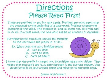 Prefixes in and im Task Cards for Journeys 3rd Grade