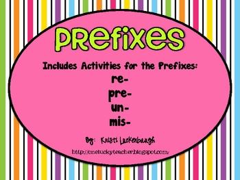 Prefixes - re, pre, un, mis
