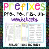 Prefixes re-, un-, mis-, pre- Worksheets