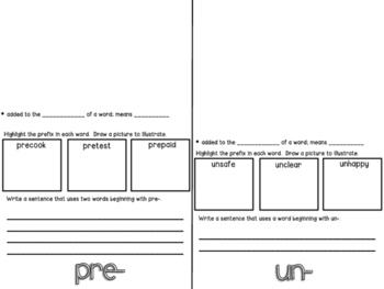 Prefixes (re-, un-, pre-) Flip-Flap Booklet