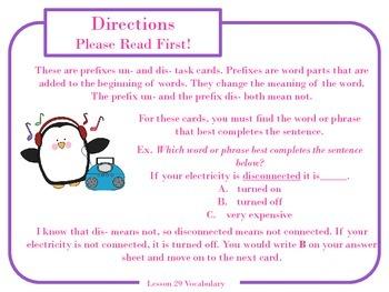 Prefixes un and dis Task Cards for Journeys 3rd Grade