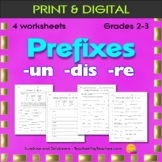 Prefixes: un- dis- re- / 3 worksheets - Grade 2 - CCSS - practice / review