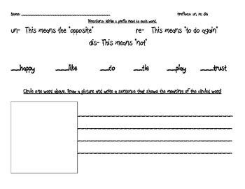 Prefixes: un, re, dis