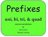Prefixes uni, bi, tri and quad - word sort of a different sort!