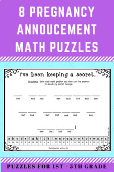 Pregnancy Announcement Math Puzzles-- 8 puzzles for grades 1-5