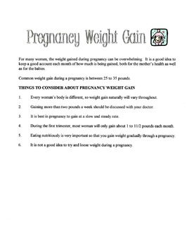 Pregnancy Weight Gain Lesson