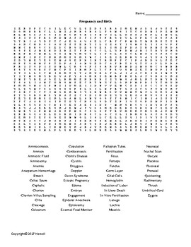 Pregnancy and Birth Vocabulary Word Search for Physiology