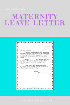 Maternity leave letter by the learning life teachers pay teachers spiritdancerdesigns Gallery