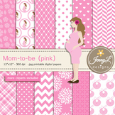 Pregnant Mom Digital papers and clipart SET