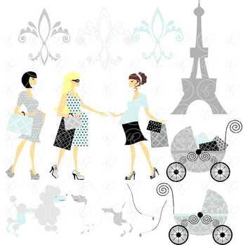 Pregnant in Paris Blue Fair Skin Tones Clipart by Poppydreamz