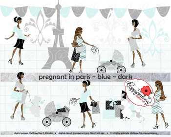 Pregnant in Paris Blue Dark Skin Tones Clipart by Poppydreamz