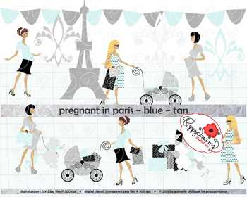 Pregnant in Paris Blue Tan Skin Tones Clipart by Poppydreamz