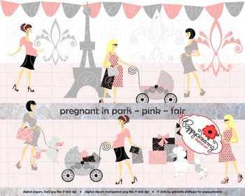 Pregnant in Paris Pink Fair Skin Tones Clipart by Poppydreamz