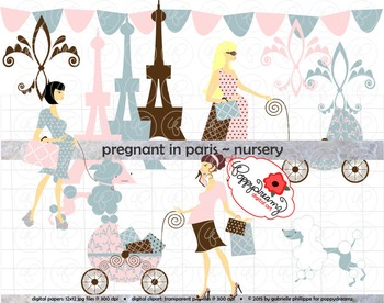 Pregnant in Paris Nursery Clipart by Poppydreamz