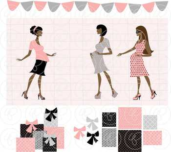 Pregnant in Paris Pink Dark Skin Tones Clipart by Poppydreamz