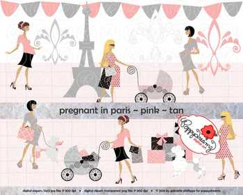Pregnant in Paris Pink Tan Skin Tones Clipart by Poppydreamz