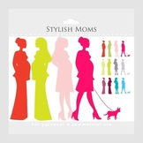 Pregnant mom clipart - chic moms, pregnancy clip art, ladi