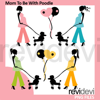 Pregnant woman walk with poodle clip art