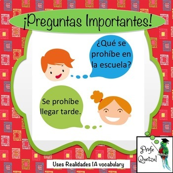 Preguntas Importantes -- Realidades 1A Speaking Handout and Activity