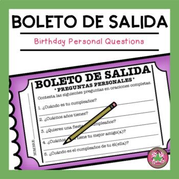 Preguntas Personales - Birthday Exit Slip