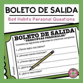 Preguntas Personales - Bad Habits Exit Slip