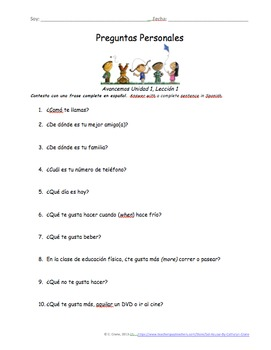 Preguntas Personales Spanish Basic Question Worksheets - Avancemos Unidad 6